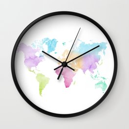 Multicolored watercolor world map Wall Clock