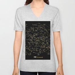Stars Constellations Love Astronomy Cosmos Galaxy Universe Unisex V-Neck