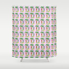 Unicorn Vacation Pattern (Rose) Shower Curtain