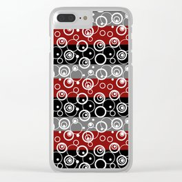 Circles and rings on striped background . Clear iPhone Case