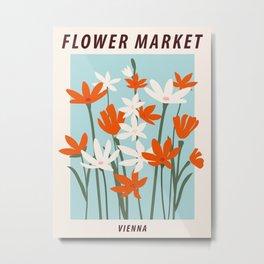 Flower market print, Vienna, Posters aesthetic, Flower print, Floral art, Botanical, Cottagecore Metal Print