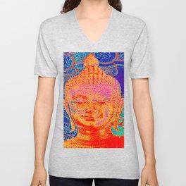 Rainbow coloured Buddha Unisex V-Neck