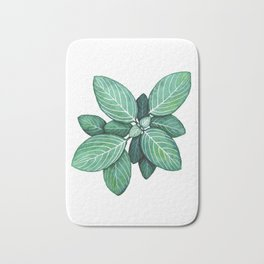 Watercolor Green Plant with White Veins Bath Mat