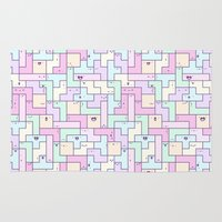 tetris Area & Throw Rugs featuring Kawaii Tetris by KiraKiraDoodles