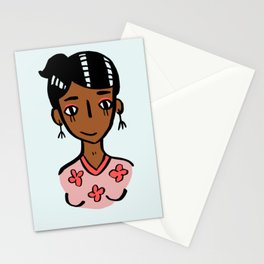 floral shirt girl Stationery Cards