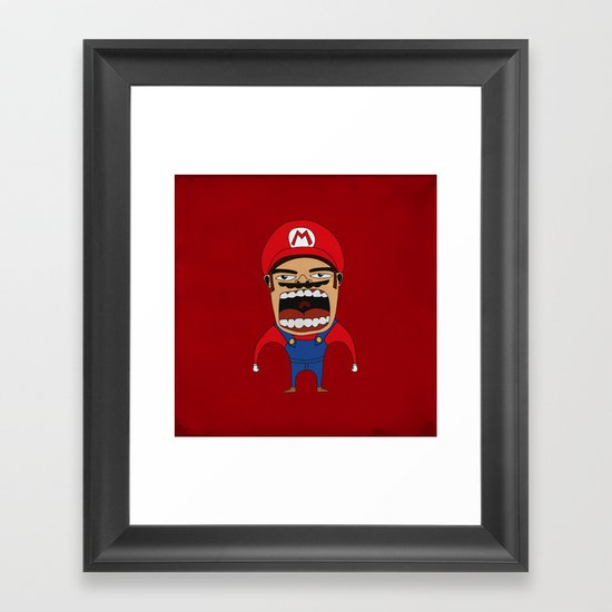 Screaming Mario Framed Art Print