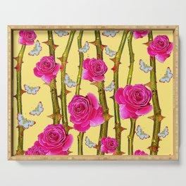 WHITE BUTTERFLIES & CERISE PINK ROSE THORN CANES YELLOW Serving Tray