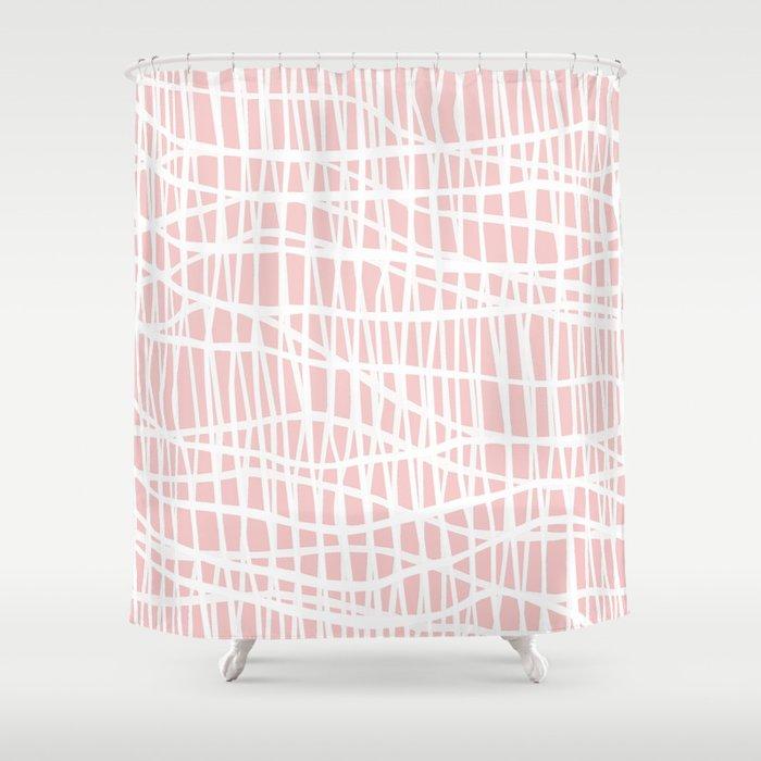 Net White on Blush Shower Curtain