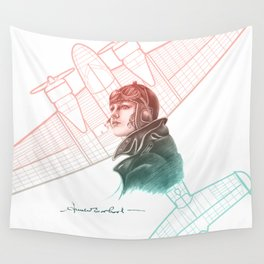 Amelia Earhart Courageous Adventurer Wall Tapestry