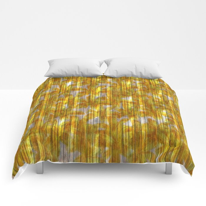 Paintely Wooden Orange and Yellow Flowers Comforters