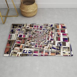 White House With Spinning 3D Cubes Rug