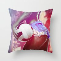 volleyball Throw Pillows featuring Beach volleyball girl sexy by Swagnation Dopetribe