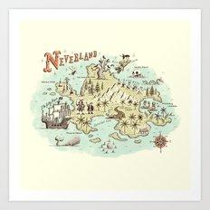 Neverland Map Art Print