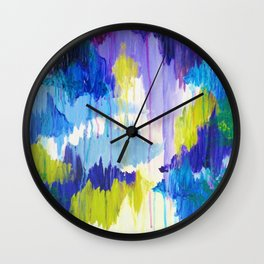 WINTER DREAMING - Jewel Tone Colorful Eggplant Plum Periwinkle Purple Chevron Ikat Abstract Painting Wall Clock