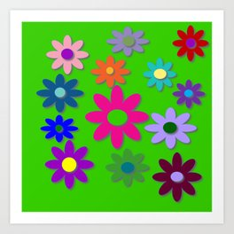 Flower Power - Green Background, Bright Colors, Fun Flower Power Desig Art Print