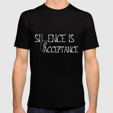 Silence is Acceptance Inverse Colors Mens Fitted Tee Black MEDIUM