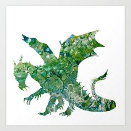 Green Fluid Pour Abstract Art Dragon Image Design Art Print