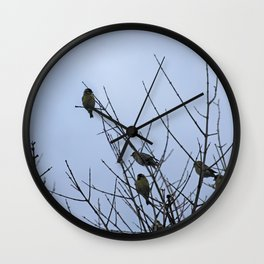 Winter Birds on Bare Branches Wall Clock