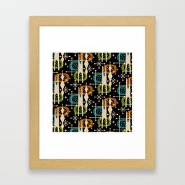 Retro Atomic Mid Century Pattern Black Orange Green and Turquoise Framed Art Print