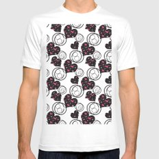 Love. Abstract floral pattern with hearts . Mens Fitted Tee MEDIUM White