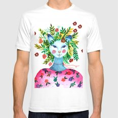 Miss Lady Cat Mens Fitted Tee MEDIUM White