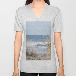 The Beach Beckons    Path To Ocean Shore Unisex V-Neck