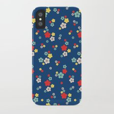 blossom ditsy in monaco blue Slim Case iPhone X