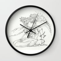 anime Wall Clocks featuring Anime by Peggy Murphy