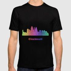 Rainbow Cincinnati skyline Mens Fitted Tee Black MEDIUM