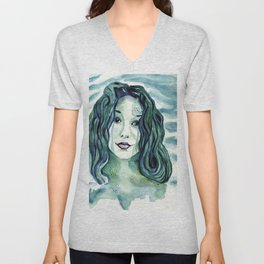 Maybe I'm A Mermaid (Tori Amos inspired art) Unisex V-Neck