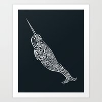 narwhal Art Prints featuring Narwhal by Jorge Garza