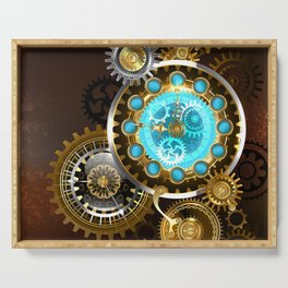 Unusual Clock with Gears ( Steampunk ) Serving Tray
