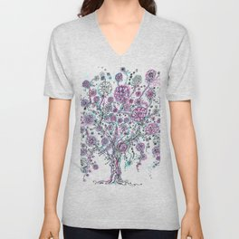 Purple and blue tree and flowers Unisex V-Neck