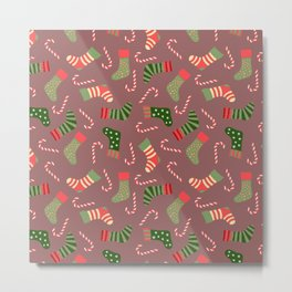 Hand painted green red white Christmas socks candy pattern Metal Print
