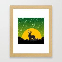 Deer Stars Moon Framed Art Print