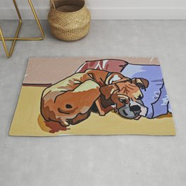 Abby Rests Boxer Dog Portrait Rug