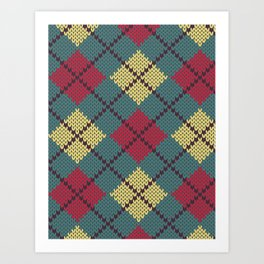 Faux Retro Argyle Knit Art Print