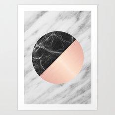 Carrara Italian Marble Black and Pink Art Print