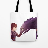 hiccup Tote Bags featuring Hiccup & Toothless by MaliceZ