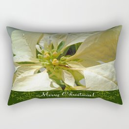 Pale Yellow Poinsettia 1 Merry Christmas S6F1 Rectangular Pillow