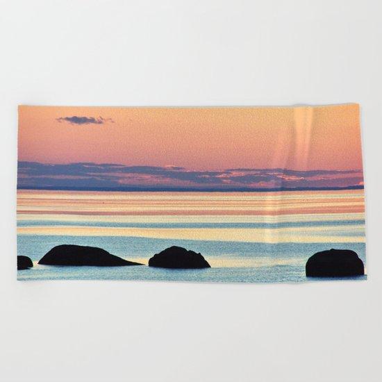 Circle of Rocks and the Sea at Dusk Beach Towel