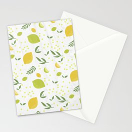 Simple Lemons & Limes Pattern Stationery Cards