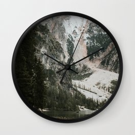 Lago di Braies, Dolomites | Colourful Travel Photography | Dolomiti, Italy (Europe) Wall Clock