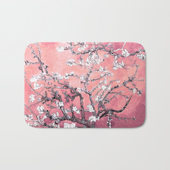 Van Gogh Almond Blossoms : Peachy Pink Bath Mat