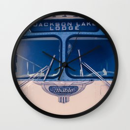 Jackson Lake Lodge Vintage Bus Print Wall Clock