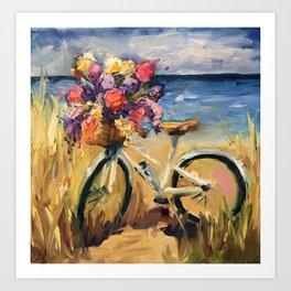 Beach Beauty Bike on the Beach Art Print