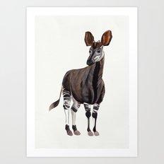Watercolour Okapi Drawing Art Print
