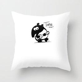Tapir-lele Funny Cute Musical Hawaii Tapir with Ukulele  Throw Pillow