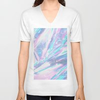 holographic V-neck T-shirts featuring Iridescence by Leah Moloney Photo