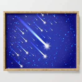 Space background with stars and comets Serving Tray
